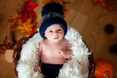 Cute newborn baby boy with knitted hat in a basket Stock Images