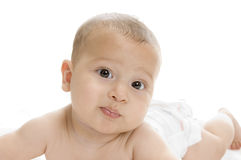 Cute newborn baby boy lying Royalty Free Stock Photos