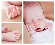 Cute newborn baby. Boy sleeping (collage Stock Image