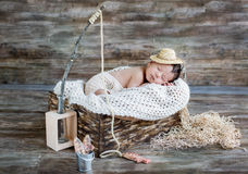 Cute newborn baby boy sleeping Stock Images