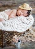 Cute newborn baby boy sleeping Royalty Free Stock Photography
