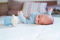 Cute newborn baby boy with teddy bear lying on bed Stock Photography