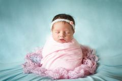 Newborn baby girl peacefully sleeping in a potato sack pose. Cute newborn baby girl peacefully sleeping wrapped in a pink fabric in a potato sack pose on a blue stock photography