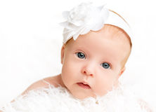 Cute newborn baby girl with a pink flower ribbon. Face of cute newborn baby girl with a pink flower ribbon royalty free stock image