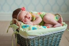 Cute newborn baby girl in a pink knit romper sleeping on a felted green blanket in a basket.  Stock Images