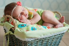 Cute newborn baby girl in a pink knit romper sleeping on a felted green blanket in a basket.  Royalty Free Stock Photos