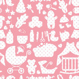 Cute Newborn Baby girl seamless pattern Royalty Free Stock Images