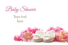 Cute newborn baby girl shoes. Baby shower, birthday, invitation,. Cute newborn baby girl shoes with hortensia flowers over the white background. Baby shower royalty free stock image