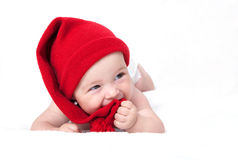 Cute newborn baby in a hat Stock Images