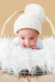 Cute newborn baby in knitted cap Stock Image