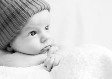 Cute newborn baby looking Royalty Free Stock Photos