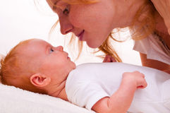 Cute newborn baby with mother Royalty Free Stock Photo