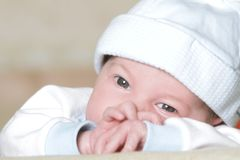 Cute newborn baby portrait Stock Photos