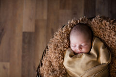 Cute newborn baby sleeping on fluffy soft blanket Stock Images