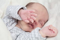 Cute newborn baby sleeping, focus on hand royalty free stock photo
