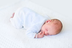 Cute newborn baby sleeping on his tummy Stock Photos
