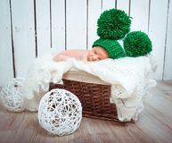 Cute newborn baby sleeps Stock Images