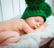 Cute newborn baby sleeps Stock Image