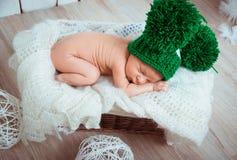 Cute newborn baby sleeps Stock Photo
