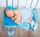 Cute newborn baby sleeps Stock Photos