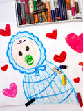 Cute newborn in a blue sleeping sack. Colorfur drawing: cute newborn in a blue sleeping sack Royalty Free Stock Photo