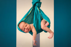 Cute newborn hanging in a shawl. Cute, 2-weeks newborn hanging in a turquoise shawl Royalty Free Stock Images