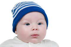 Cute newborn little baby girl with blue eyes Stock Image