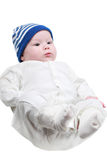 A cute newborn little baby girl with blue eyes isolated on white background Stock Photography