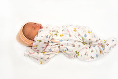 A cute newborn little baby girl sleeping. Use it for a child, pa Royalty Free Stock Photo