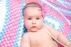 A cute newborn little baby girl. Use it for a child, parenting Royalty Free Stock Photos