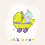 Cute Newborn Parrot Riding in a Carriage. Baby Shower or Arrival Card Royalty Free Stock Image
