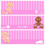 Cute Newborn It's a Girl Banners Set Stock Photography