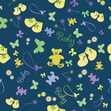 Cute Newborn seamless pattern.Baby background with baby's dummy, bootees, bear. Stock Images