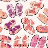 Cute newborn shoes for girls. Orange and pink ballerinas with bows. Seamless pattern. Vector illustration on light pink background. Newborn shoes for girls stock illustration
