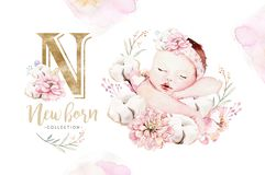Cute Newborn Watercolor Baby. New Born Child Illustration Girl And Boy Painting. Baby Shower Isolated Birthday Painting Royalty Free Stock Photography
