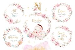 Cute Newborn Watercolor Baby. New Born Child Illustration Girl And Boy Painting. Baby Shower Isolated Birthday Painting Royalty Free Stock Images
