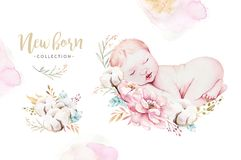 Cute newborn watercolor baby. New born child illustration girl and boy painting. Baby shower isolated birthday painting vector illustration