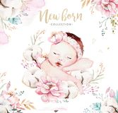 Cute newborn watercolor baby. New born child illustration girl and boy painting. Baby shower isolated birthday painting royalty free illustration
