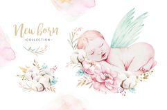 Cute newborn watercolor baby. New born child illustration girl and boy painting. Baby shower isolated birthday painting. Cute newborn watercolor baby. New born royalty free illustration