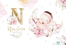 Cute newborn watercolor baby. New born child illustration girl and boy painting. Baby shower isolated birthday painting. Cute newborn watercolor baby. New born stock illustration