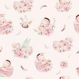 Cute Newborn Watercolor Baby Pattern. New Born Dream Sleeping Child Illustration Girl And Boy Patterns. Baby Shower Stock Photo