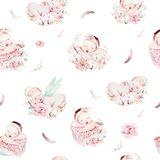 Cute newborn watercolor baby pattern. New born dream sleeping child illustration girl and boy patterns. Baby shower vector illustration