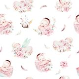 Cute newborn watercolor baby pattern. New born dream sleeping child illustration girl and boy patterns. Baby shower royalty free illustration