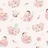 Cute newborn watercolor baby pattern. New born dream sleeping child illustration girl and boy patterns. Baby shower. Cute newborn watercolor baby pattern. New Stock Photo