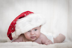 Cute newborn xmas baby Royalty Free Stock Photography