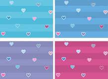Cute nice small hearts with dots on striped background. Fine design fo kid fabric. Children lifestyle idea Royalty Free Stock Photo