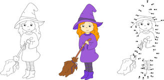 Cute and nice witch with broom. Vector illustration. Coloring an Royalty Free Stock Photo