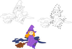 Cute and nice witch flying on a broom. Vector illustration. Colo Stock Images