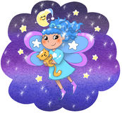 Cute night fairy girl. Fairy lady flying in a starry night. Digital illustration Royalty Free Stock Image
