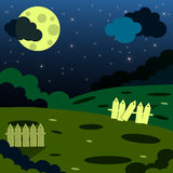 Cute night landscape. Cartoon clouds, moon and tree Stock Photo